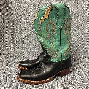 JUSTIN - Black & Turquoise Square Toe Cowboy Boots